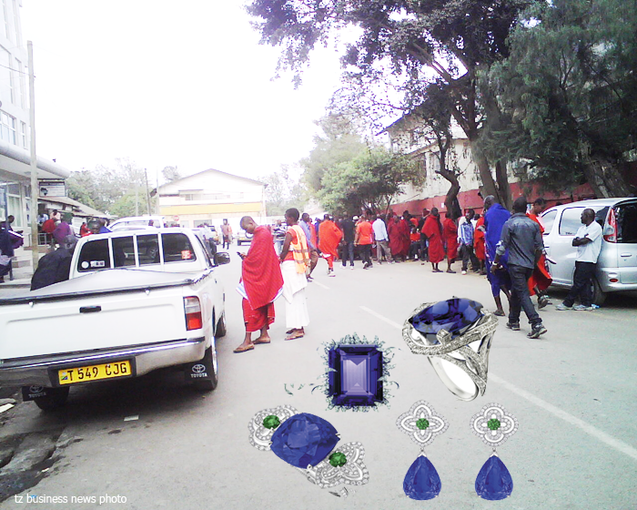 Tanzanite brokers at St. Thomas area in downtown Arusha with Tanzanite jewelry inset
