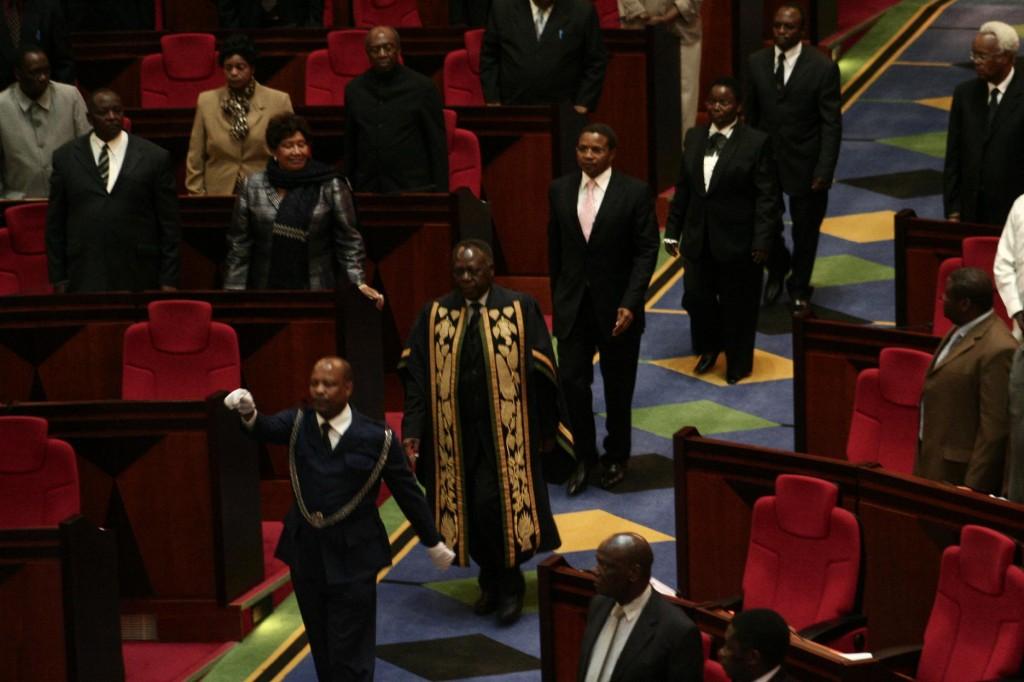 Tanzanian leaders enter nation's male dominated parliament in Dodoma, Central Tanzania