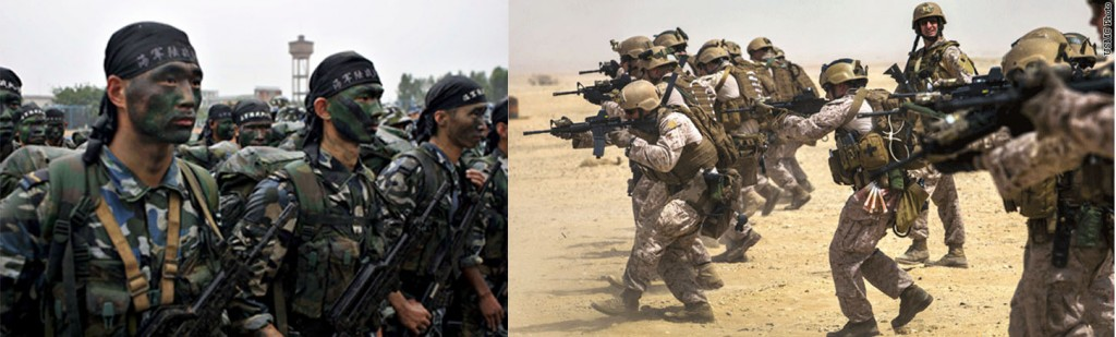 Chinese Marines (Left) with US Marines (R) - Internet Photos