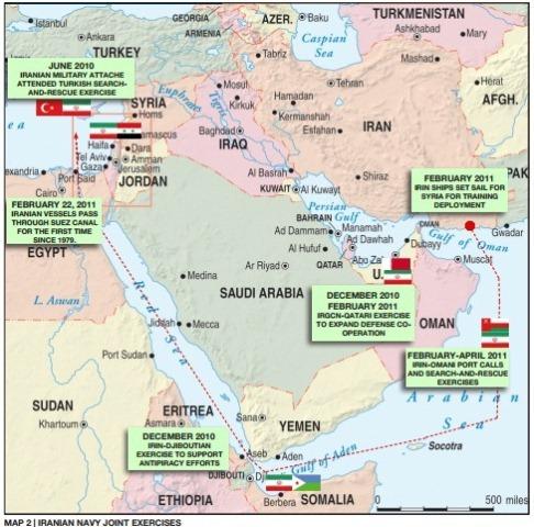 Iranian navies geo-political operational map
