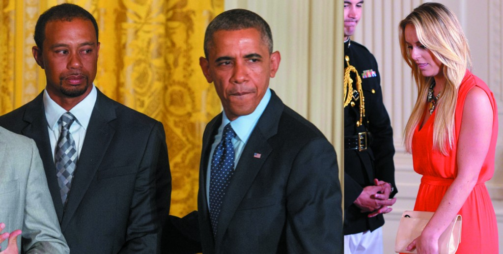 Lindsey Vonn (R) escorts Tiger Woods to White to meet US President Barrack Obama