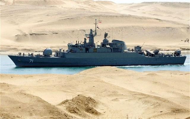 Iranian war ship passes through Suez Canal