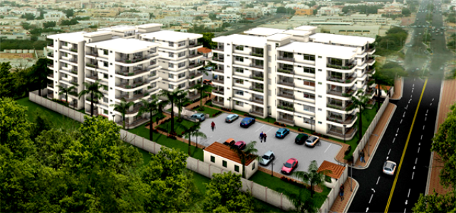 Housing landscape in Dar es Salaam: Luxury  apartments at Mbezi Beach, recently constructed complete with a swimming pool and  gym.