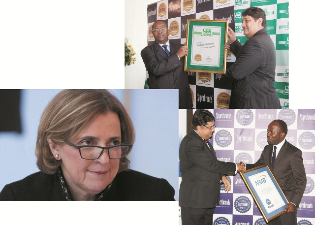 Above: CRBD Bank Managing Director,  Dr. Charles Kimei, receivrd an award from Superbrands as the best bank in Tanzania. The award is given  by the Director of Superbrands East Africa, Mr. Jaward Jaffer.  Left: Barclays Bank Africa Group Managing Director Maria Ramos. Right: NMB Head of Marketing and Communications, Imani Kajula (in black tie) receives Superbrands  East Africa award  as NMB wins best bank in Tanzania under financial sector category 2013-2014.   The Award is given by Mr.Jaward Jaffer.