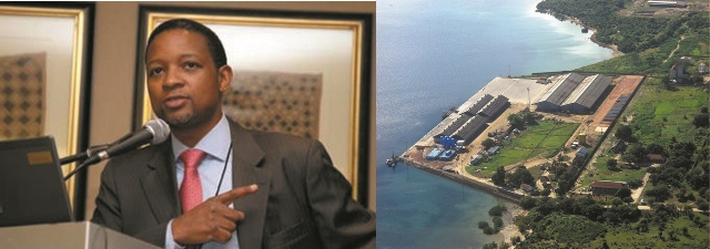 South Africa's Transnet Port Terminals CEO Karl Socikwa (L) with Tanzania's Mtwara Port (R) which needs to be worked on