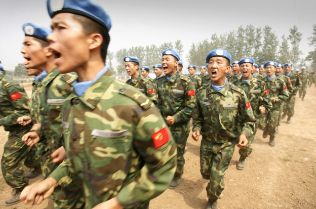 Chinese People's Liberation Army troops bound for a peacekeeping mission in Darfur train in Henan province, China in September 2007. (AFP Internet Photo).