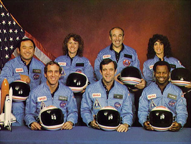 The Challenger and its seven member crew were lost 73 seconds after launch when a booster rocket failed. Space Shuttle Challenger crew members are seen in an official portrait. (Back, L-R) Mission Specialist Ellison S. Onizuka, Teacher-in-Space participant Sharon Christa McAuliffe, Payload Specialist Greg Jarvis and mission specialist Judy Resnick. (Front, L-R) Pilot Mike Smith, commander Dick Scobee and mission specialist Ron McNair. Picture: NASA / GETTY
