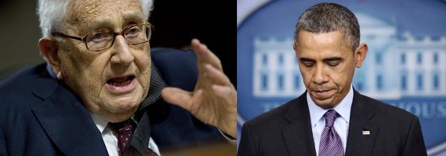 From Left: Former US Secretary of State Henry Kissinger, US President Barack Obama