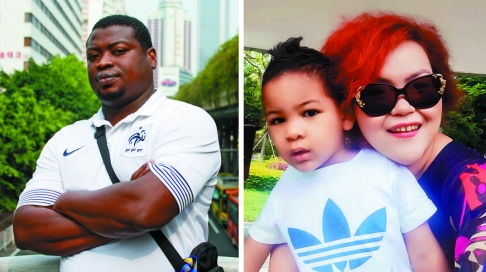 Left: Former Chengdu Tiancheng FC player Youssou Ousagna. Right: Michelle Zhang Nan with her son Calvin