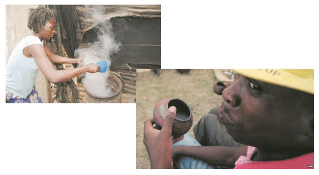 Left: Mozambique woman prepares homemade brew. Right: Man tastes brew.  (Internet Photos)