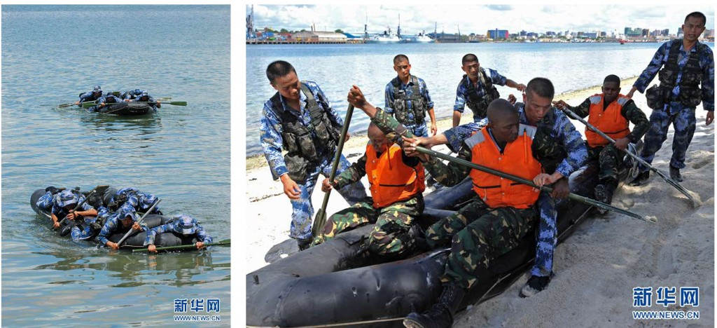 Tanzania Navy fighters receive instructions from Chinese Navy