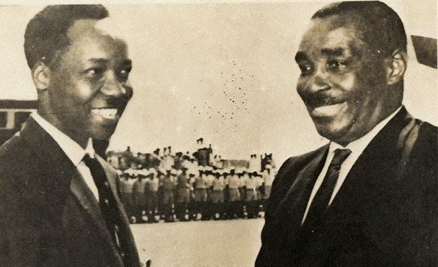 Authors of Africa's only surviving union. J.K. Nyerere (L) and Sheikh Amri Abeid Karume