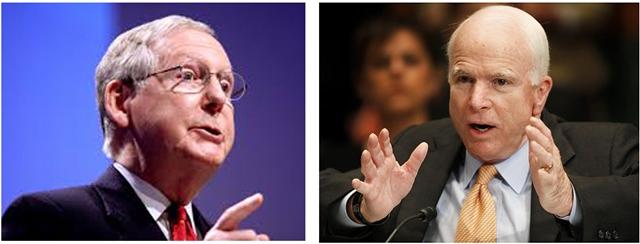 US Senate Majority Leader Mitch McConnell (L) with Sen. John McCain of Arizona