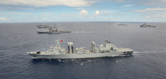 Chinese war ships doing war rehearsals on the Pacific rim close to Hawaii. (Internet Photo).