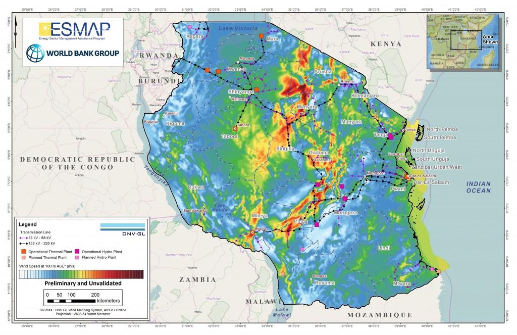 Wind distribution in Tanzania