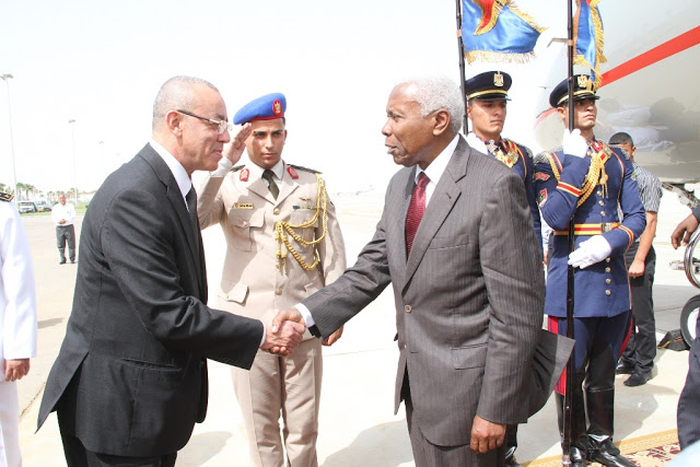 Vice President of the United Republic of Tanzania, Dr. Mohammed Gharib Bilal (R) is welcomed by Egypt Minister for Transport, Hossam Kamala at Sharm El Sheikh International Airport in Egypt when he arrived to attend the historic signing of the agreement to form the EAC, COMESA, SADC intra-African free trade area