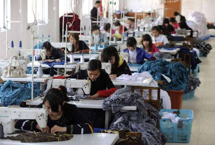 © Provided by Quartz Employees work at a garment factory in Hefei, Anhui province, April 8, 2010. China's economy is likely to grow by more than 10 percent in 2010, thanks to recovering exports and rising consumption, a government researcher…
