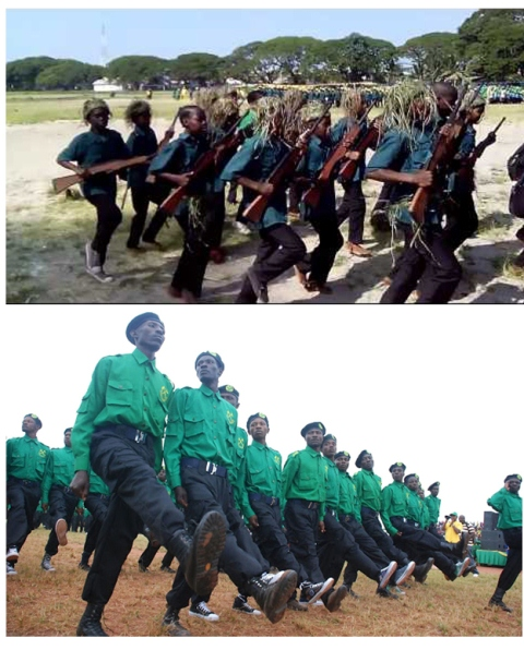 Above: Green Guards undego military training in Zanzibar. Bottom: Green guards on military parade.