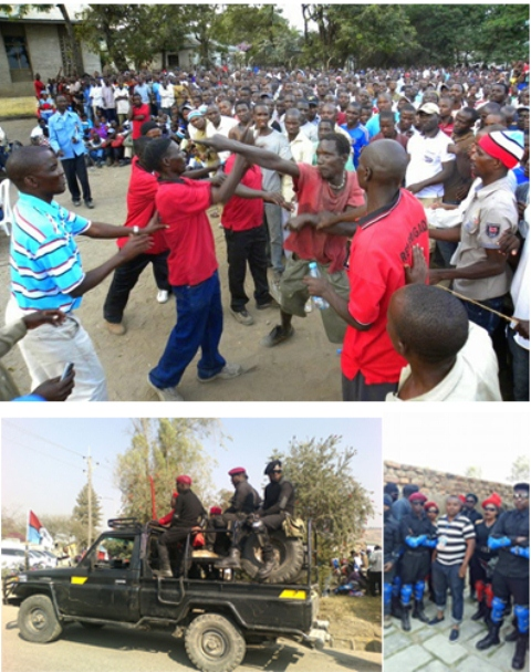 Above: Member of the Chadema Red Brigade demonstrate military skills in Mwanza. Bottom: Members of the Red Brigade on duty in Mbeya city during the 2015 presidential campaigns.