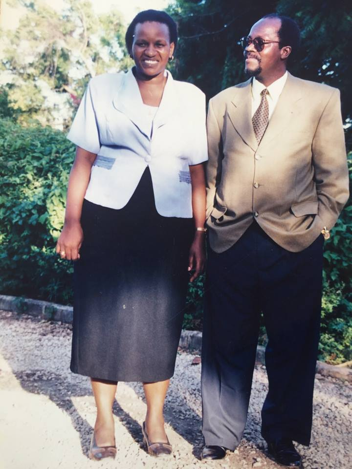 Tanzania's probable new President, John Pombe Magufuli Stands with his primary school teacher wife