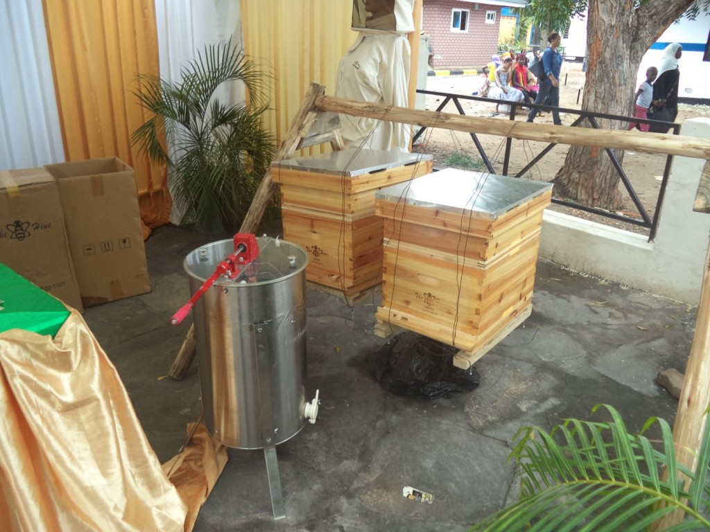 High quality frame hives designed for African bees supplied by The Bee Hive Company on display at Sabasaba grounds in Dar es Salaam.