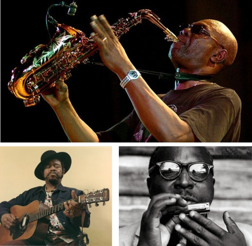 Top: Cameroonian Jazz Saxophonist Manu Dibango. Bottom, From Left: Renowned American Jazz Guitorist Brown McGee and American Harmonica player Sonny Terry.