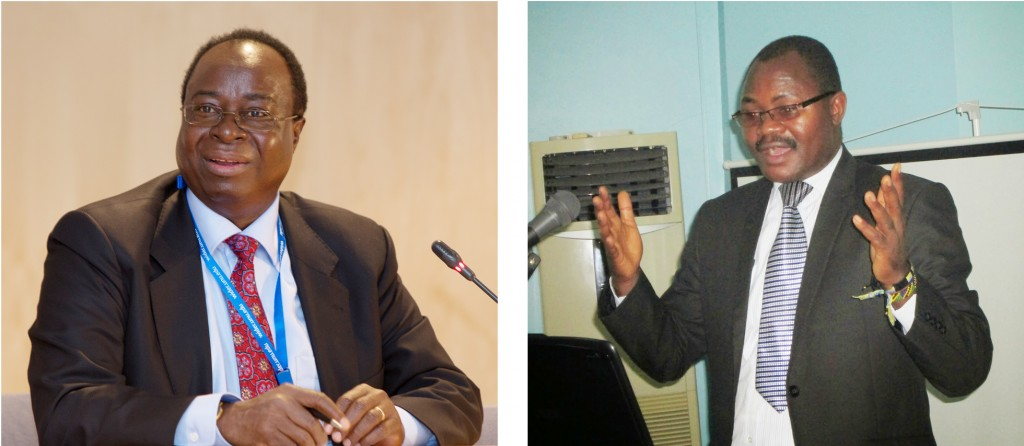 Bank of Tanzania Governor, Prof. Benno Ndulu (L), and Tanzania Financial Intelligence Unit Commissioner Onesmo Makombe.
