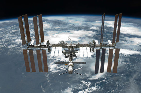 Photograph of the International Space Station taken from the space shuttle Endeavour on May 30, 2011. Image Credit: NASA.