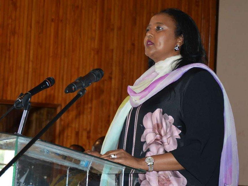 Kenya Foreign Affairs Minister Amina Mohammed at the University of Nairobi.