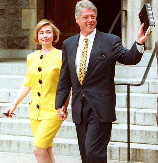 Young Hillary-Clinton with husband Bill Clinton walking from Church