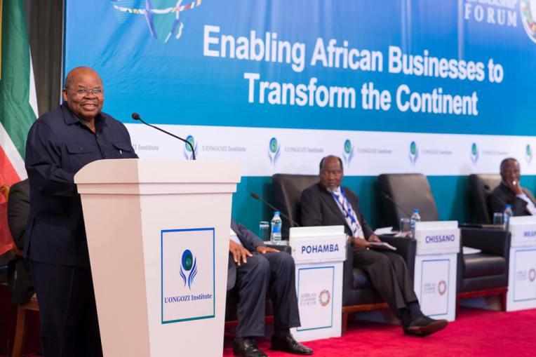 Former President Benjamin William Mkapa delivers his opening remarks.