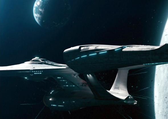 The U.S.S. Enterprise, depicted here in the 2013 movie Star Trek: Into Darkness, relies on its warp drive to zip across the galaxy. PHOTOGRAPH BY CBS, GETTY IMAGES