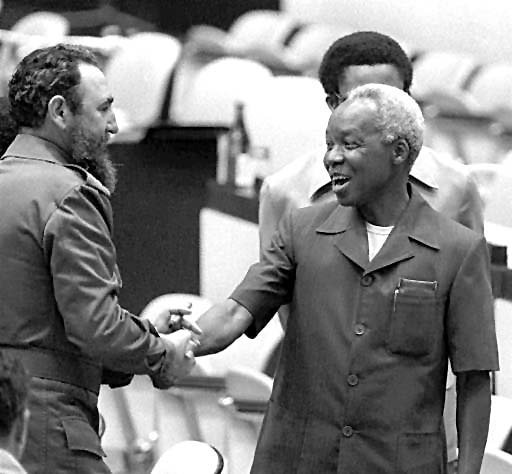 Fidel Castro meets, Former Tanzania President the Late Mwalimu Julius Kambarage Nyerere, Chairman of the African Frontline States spearheading the struggle against apartheid and colonial rule in Southern Africa.