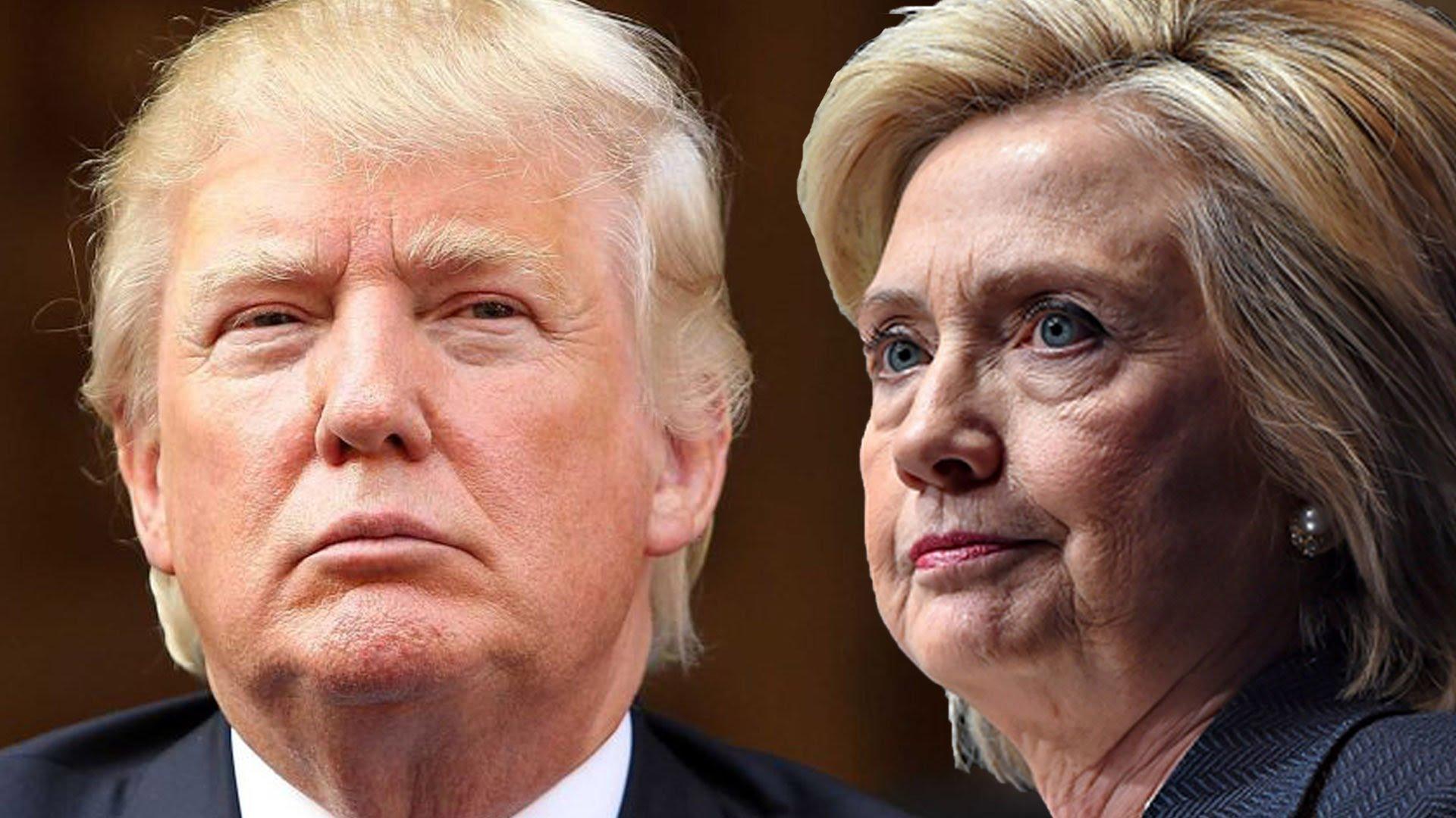 Hillary Clinton (R) with Donald Trump