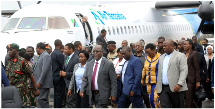 President John Pombe Magufuli Receives recently purchased Bombardier Q400 NextGen aircraft from Canada to revamp the State airline ATCL